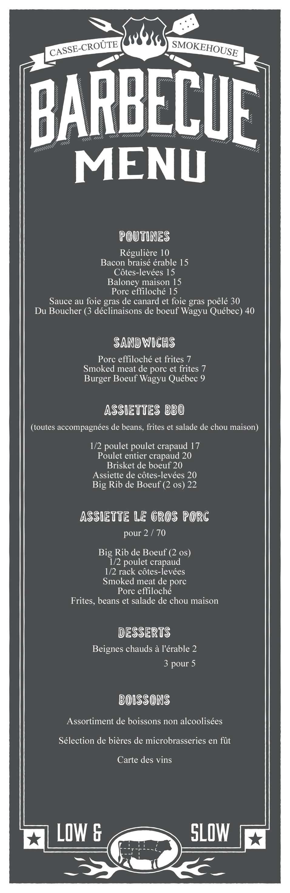 menu-Restaurant BBQ Smokehouse à Chertsey dans Lanaudière